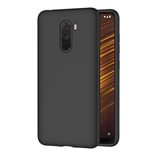 AICEK Xiaomi Pocophone F1 Hülle, Schwarz Silikon Schutzhülle für Xiaomi Pocophone F1 Case TPU Bumper Xiaomi Pocophone F1 Handyhülle (6,18 Zoll)