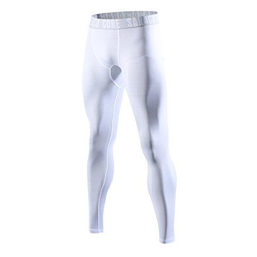 ungen Herren Lange 3/4 Unterhose Strumpfhose Unterwäsche Fussball Fahrrad Kompressions Fitness Sports Leggings(WeißB,S) ()