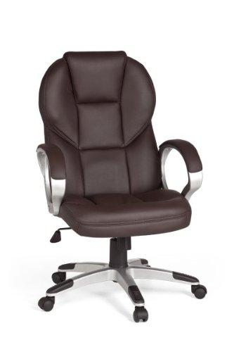 AMSTYLE Bürostuhl MATERA Bezug Kunstleder Braun Schreibtischstuhl Design X-XL 120 kg Chefsessel Wippfunktion ergonomisch Polster Drehstuhl hohe Rücken-Lehne höhenverstellbar mit Armlehnen Hochlehner