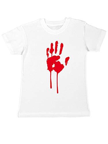 clothinx Kinder T-Shirt Halloween Bluthand Weiß Größe 116