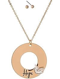b3030cadfac3c2 Parure collana lunga fantasia e orecchini assortiti, in metallo dorato,  ciondolo ad anello double face: brillante con…