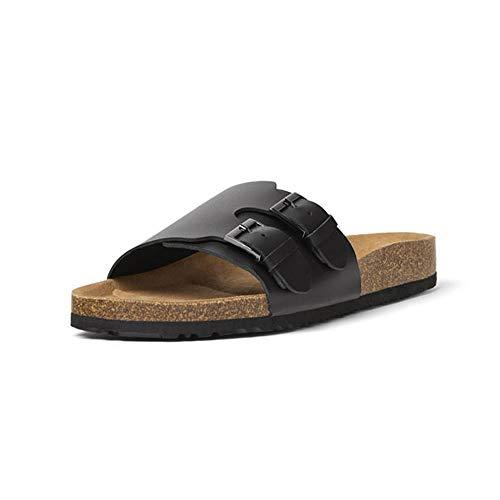 Czcrw Sommer Fischer Schuhe schwarz Nähte Kuh Leder Sandalen Strand Schuhe Hausschuhe Wildleder Flache Sandalen Riemen verstellbare Schnalle (Größe : 42 EU) -