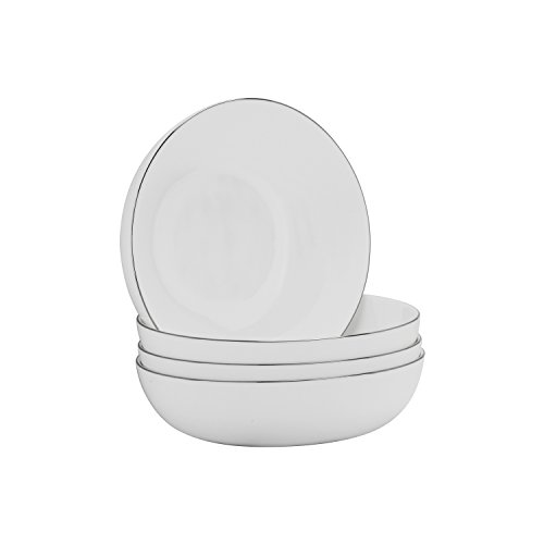 10 Strawberry Street BONE-7-SB-4 Bone Band Coupe Cereal Bowl, Set of 4, White/Silver by 10 Strawberry Street Coupe Cereal Bowl