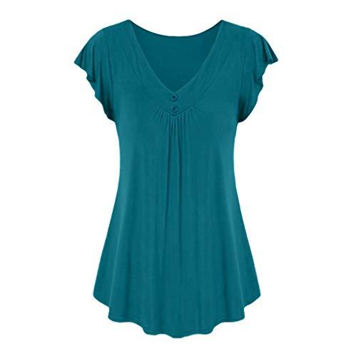 LOPILY Sommer T-Shirt Kurzarmshirt Damen Elegante Übergröße Kurzarm Gekräuselte Geraffte Shirts Blusen Tops Sommer Lässige Unregelmäßiger Saum Falten Bluse Oberteil(X1-Minzgrün,3XL) -