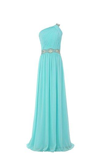 YiYaDawn Edles One-Shoulder Kleid Ballkleid Abendkleid für Damen Helltürkis
