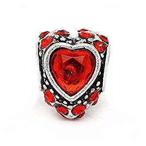 Silver Red Rhinestone Pave Love Heart Charm Bead For Pandora Style Bracelets style bracelets