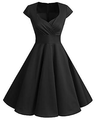 bbonlinedress Women's 50s 60s A Line Rockabilly Dress Cap Sleeve Floral Vintage Swing Party Dress