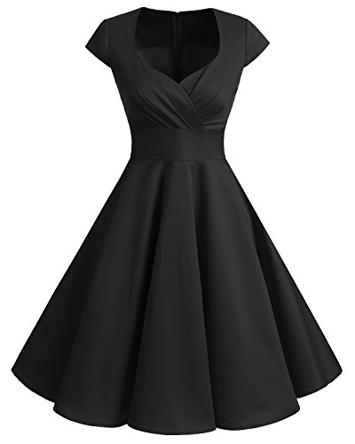 Bbonlinedress Robe Femme de Cocktail Vintage Rockabilly Robe plissée au Genou sans Manches col carré Rétro Black 2XL
