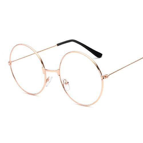Kjwsbb FrauenRunde Metall Klare Linse Brillengestell Unisex Nerd Anti-Strahlung Brillen Brillengestell