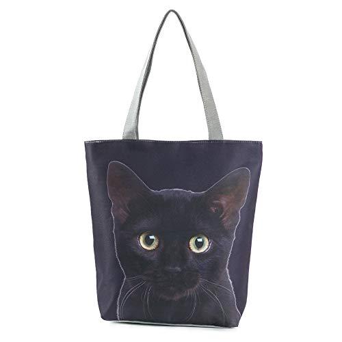 MoGist Bolso de Mujer Bolsa de Playa Cubierta de Hombro niedliches Perros Gatos patrón Bolsa de la Compra de Viaje, Style2, 38 * 27 * 11cm