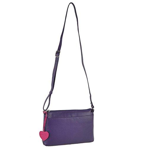 Mala Leather, Borsa a tracolla donna Nero Blu viola