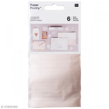 Rico Design Paper Poetry Transferfolie 15,1x9cm in vielen Farben 3D-Optik inkl. Anleitung 6 Blatt Transferpapier farbig Folie Champagner