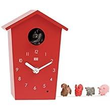 KOOKOO AnimalHouse rossoorologio cucù orologio da parete con 5 animali della fattoria registrazione naturali design moderno
