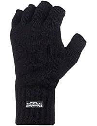 Thinsulate - Demi-doigts Gants Hiver Pour Hommes Thermique Doublé Mitaines en Noir et 2 Tailles
