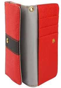 """DFV mobile - Cover Premium with Color Line Design with Card Case for =>      APPLE IPHONE 6 [4,7""""] > Red Red"""