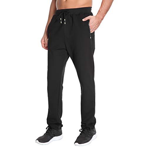Tansozer Jogginghose Herren Ohne Bündchen mit Reissverschluss Taschen Freizeit Baumwolle(Black M)