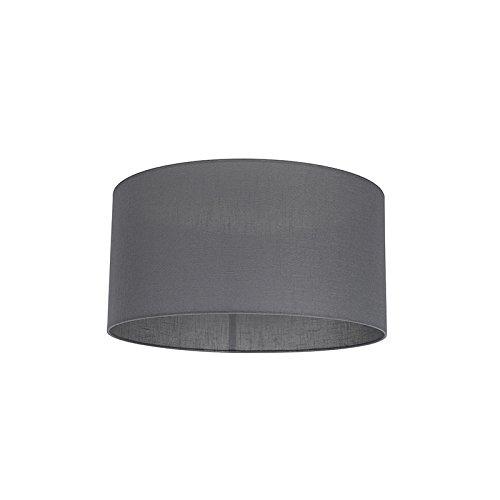 QAZQA Modern Polyester Lampenschirm 50/50/25 Zylinder dunkel-grau, Rund gerade Schirm...