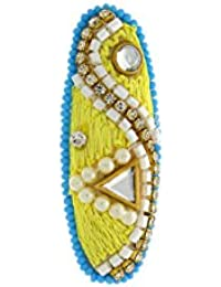 Anuradha Art Blue-Green Colour Stylish Designer Sari Pin Brooch For Women/Girls