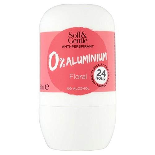 6x Doux Pour Le 0% Rouleau Floral Aluminium Sur 50 Ml Déodorant Anti-Transpirant