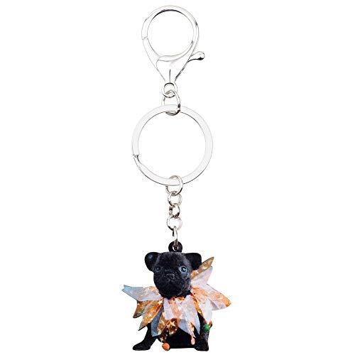 QYYDJMJ Acryl Halloween Französisch Bulldog Mops Hund Schlüsselanhänger Schlüsselbund Kostüme Schmuck Für Frauen Mädchen Auto Brieftasche Pet Charme (Einhorn Kostüm Ziel)