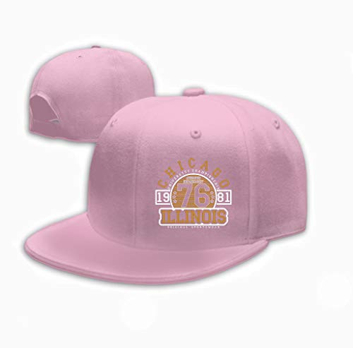 Xunulyn Unisex Adjustable Mesh Caps Snapback Hat Chicago Illinois Typography original Sportswear prin Pink