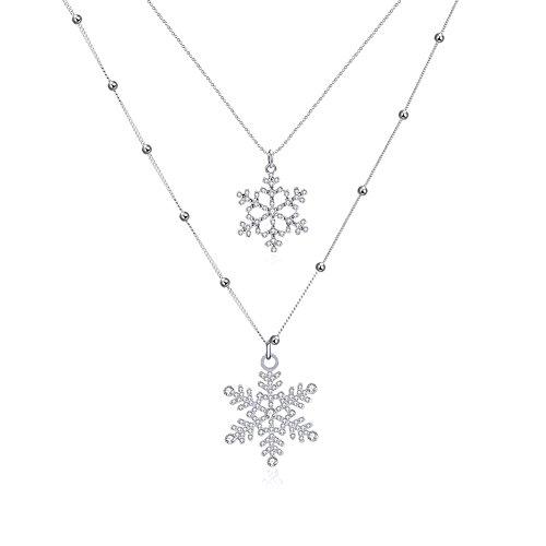Meilanty monili donne Normativa collana Snowflakes - lega di zinco platino placcato con lunghezza 47cm + 7CM catene