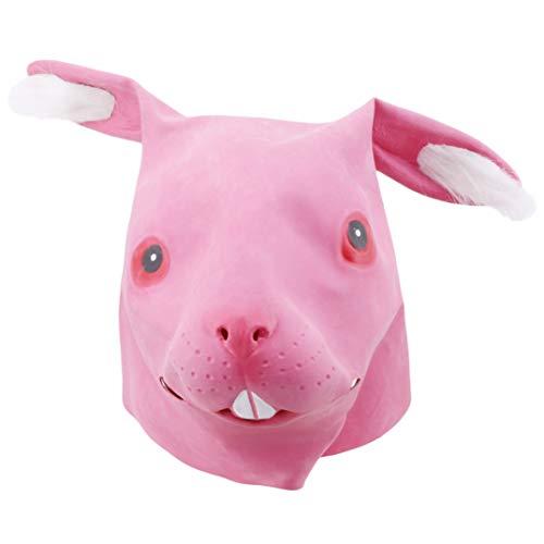 JOOFFF Kaninchen Maske Kreative Halloween Parodie Maske Weiche Kaninchen Latexmaske Einfache Lustige Persönlichkeit Simulation Kaninchen Kopfbedeckungen, Rosa