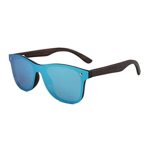 Yiph-Sunglass Sonnenbrillen Mode Holz Bein PC Rahmen TAC Objektiv Urlaub Angeln Strand Outdoor Sonnenbrille Persönlichkeit Katzenaugen Einteiler Herren Polarisierte Sonnenbrille (Farbe : MC4)