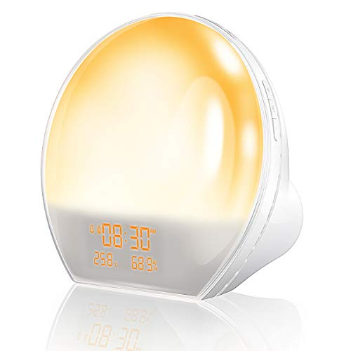 AngLink Wake up light, Despertador Tiene Interfaz de Salida USB, Radio FM, Monitor de Humedad de Temperatura Interior, Luz Norturna y Luz Ambiental Multicolor