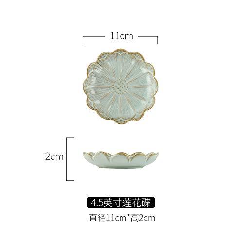e Blume-förmigen Gericht Sauce Keramik Gewürz Gericht Sauce Küche Schälchen Gericht 4,5 Zoll Lotus Dish Creme grau ()
