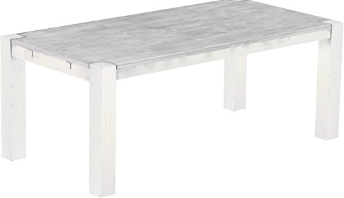 Brasilmöbel® Esstisch 200x100 Rio Kanto - Beton Weiß Pinie Massivholz - Größe & Farbe wählbar - Esszimmertisch Küchentisch Holztisch Echtholz - vorgerichtet für Ansteckplatten - Tisch ausziehbar