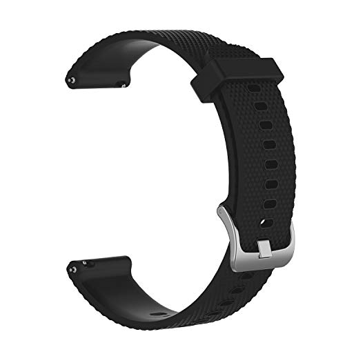 Haotop Soft Luxury Silicone Strap Bands Compatible for Garmin vivoactive 3 20mm(Watch Not Included) (Black)
