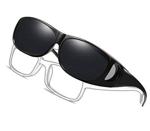 Gafas de sol deportivas polarizadas UV400,Gafas de Sol Para Colocar Sobre las Gafas Normales y de Lectura Hombre Mujer (negro)