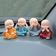 SLB Works 4 Cute Doll Monk Sets for Car Interior Accessories