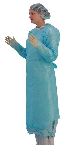 Shermond Einweg-Untersuchungskittel, mit Daumenschlaufen, schützt vor Flüssigkeiten, Einheitsgröße, Blau, 20Stück