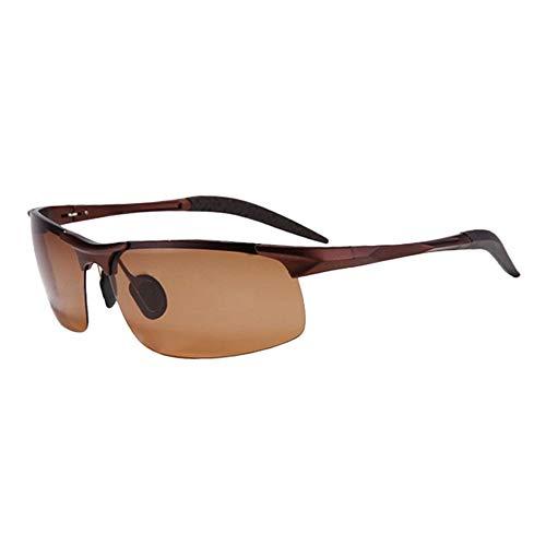 L.Z.H.Brillen Gläser Polarisierte Sonnenbrille UV400 UV Cut Metallrahmen Sport Sonnenbrille Drive Baseball Fahrrad Angeln Laufen Golf Driving Unisex (Color : Braun, Size : Kostenlos)