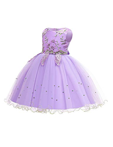 Zhhlaixing Blumenspitze Weihnachtskleider Elegante Prinzessin Kleider Big/Little Girl Geburtstag Tüll Kleid Applikationen Tüll Brautkleider für Kommunion Party 2-14T (Belted Lace Dress)
