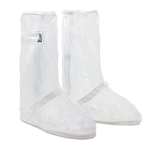 Hseamall copriscarpe pioggia moto, scarpe pioggia impermeabile copriscarpe riutilizzabile stivali di copriscarpe antiscivolo con zip (40/42 eu)