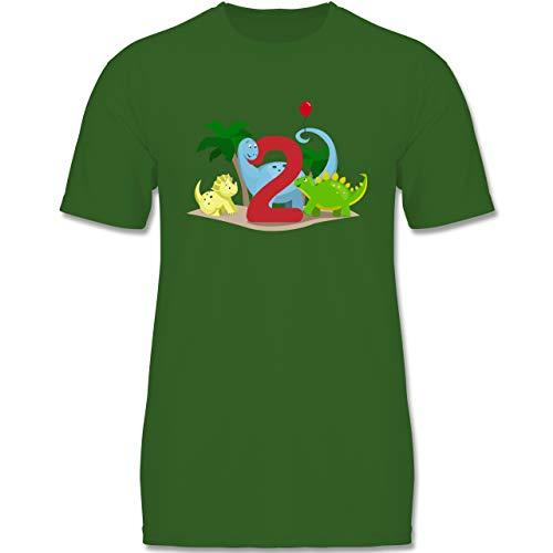 Geburtstag Kind - 2. Geburtstag Dinos - 98-104 (3-4 Jahre) - Grün - F140K - Jungen T-Shirt
