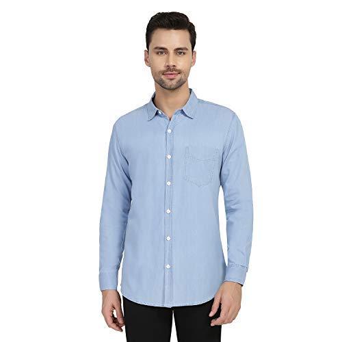 cffed91a5d nick&jess Mens Light Blue Long Sleeve Denim Shirt