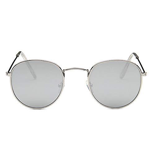 Shanyaid Fashion Kleine Runde Retro Sonnenbrille Metallrahmen UV-Schutz Vintage Männer und Frauen Brillen (Silber) (Color : Silver)
