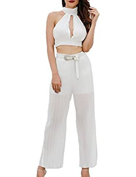 Suvimuga Cómoda Recta Larga Plisada Escarpada Flowy Mujer Pantalones Pantalones Palazzo Lounge