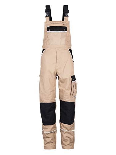 TMG® Komfortable Herren Latzhose | Khaki | Männer Arbeitslatzhose mit Reflektoren und Taschen für Kniepolster | Ideal für Schreiner und Tischler 54