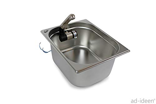 Edelstahl Spülbecken Camping Spüle Waschbecken + Ablauf 325x265x200mm Barwig Chrome Wasserhahn integriert (ad-ideen)