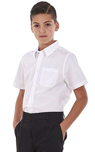 BHS Boys 2 Pack Regular Fit Non Iron Short Sleeve School Shirt