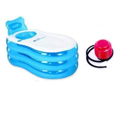 Relaxbx Aufblasbare Badewanne Transparente Verdickung Erwachsene Badewanne Faltbare Badewanne Kunststoff Kinder Badewanne Waschbecken (Farbe: Blau)