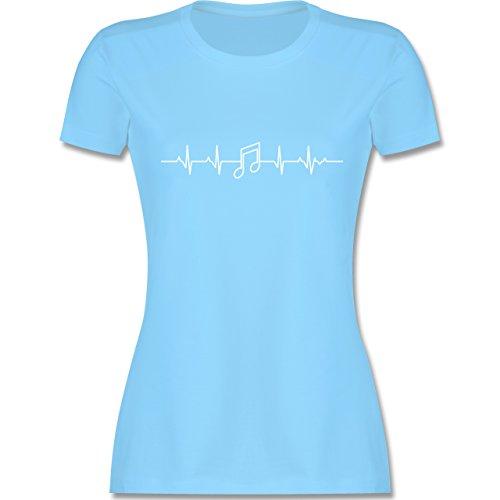 Symbole - Herzschlag Musik Note - XXL - Hellblau - L191 - Damen Tshirt und Frauen T-Shirt - Damen-musik-t-shirts