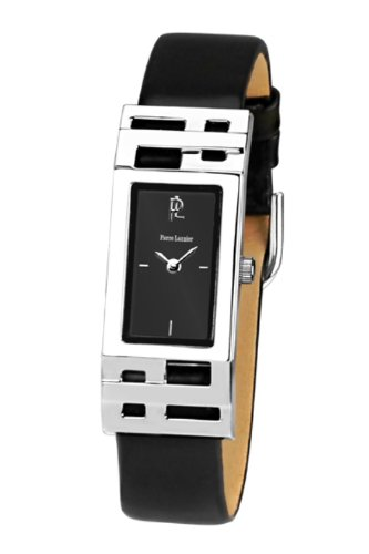 Pierre Lannier 008C633 - Reloj analógico de cuarzo para mujer, correa de cuero color negro