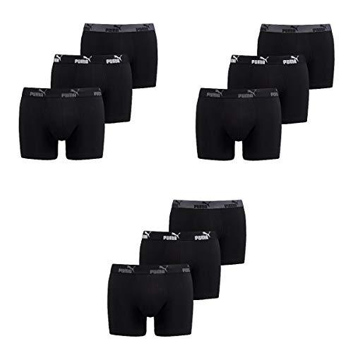 Puma 9 er Pack Boxer Boxershorts Herren Unterwäsche Sportliche Retro Pants, Bekleidungsgröße:L, Farbe:200 - Black -