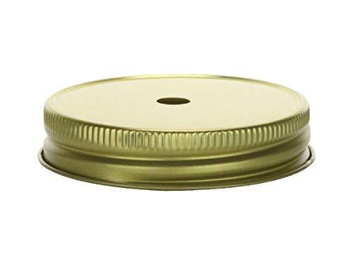nakpunar Mason Jar Deckel mit Trinkhalm Löcher-Für Regular Mouth Mason Jars, Made in USA gold (Bulk Deckel Mason Jar)